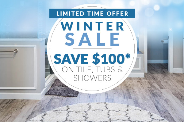 Save $100* on Tile, Tubs & Showers  *Minimum product & installation purchase of $999. Must mention this ad. Cannot combine offers.  Not valid on clearance, in-stock items, and prior purchases. Offer ends 2/29/20.